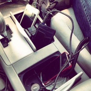 Three people toting five iOS devices on a roadtrip? Perfectly normal where I come from.